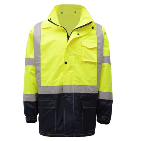 GSS SAFETY 6003 CLASS 3 PREMIUM HOODED RAIN JACKET BLACK BOTTOM
