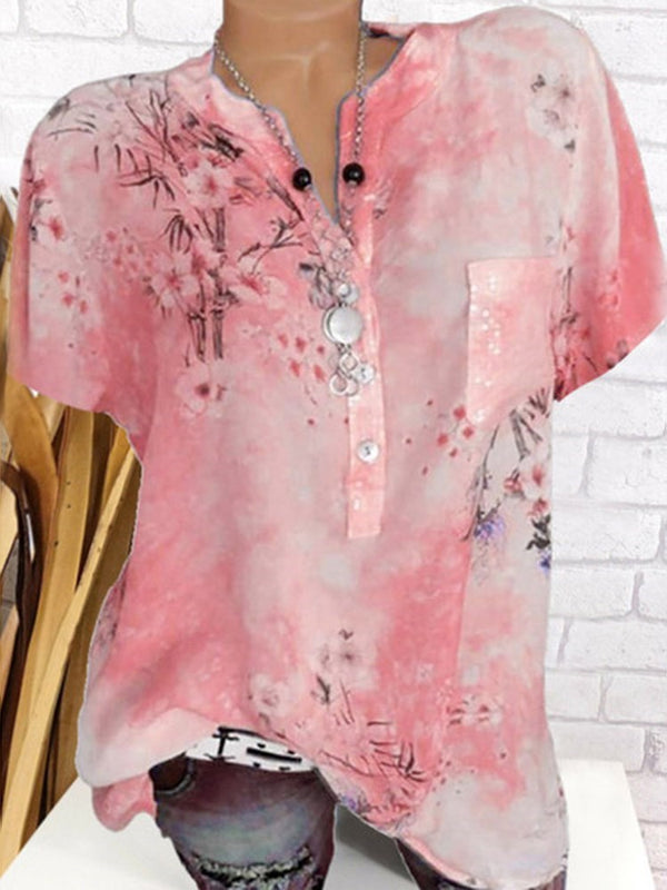 Floral Print Short Sleeve Mid-Length Blouse