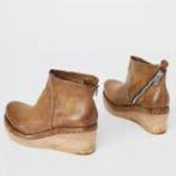 Wedge Heel Round Toe Plain Side Zipper Casual Cotton Boots
