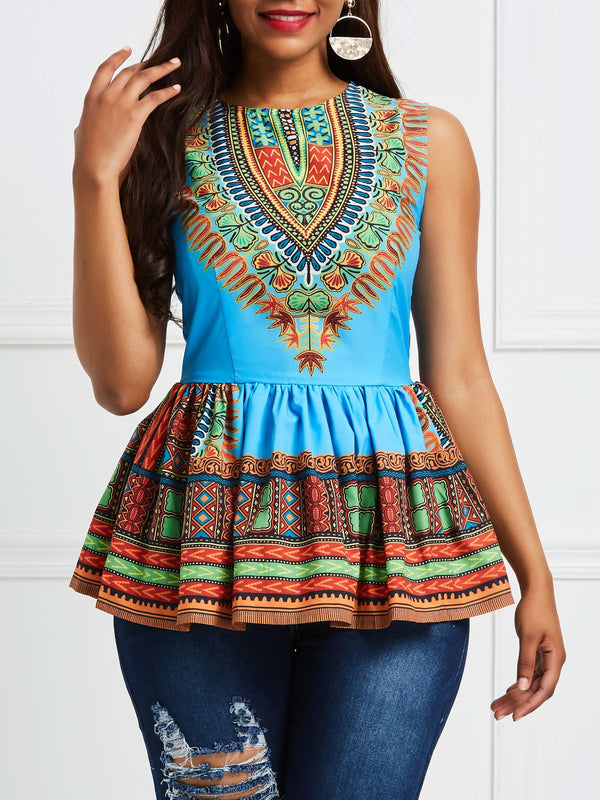 Round Neck Sleeveless Standard African Ethnic Style Slim T-Shirt