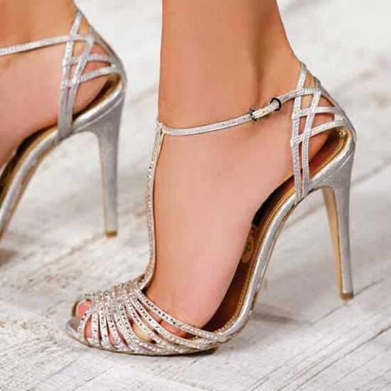 T-Shaped Buckle Peep Toe Stiletto Heel Casual Hollow Sandals