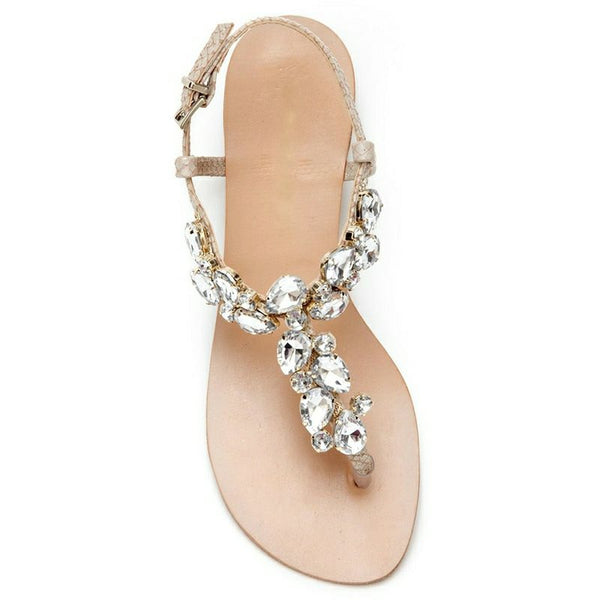 Thong Buckle Block Heel Strappy Rhinestone Casual Sandals