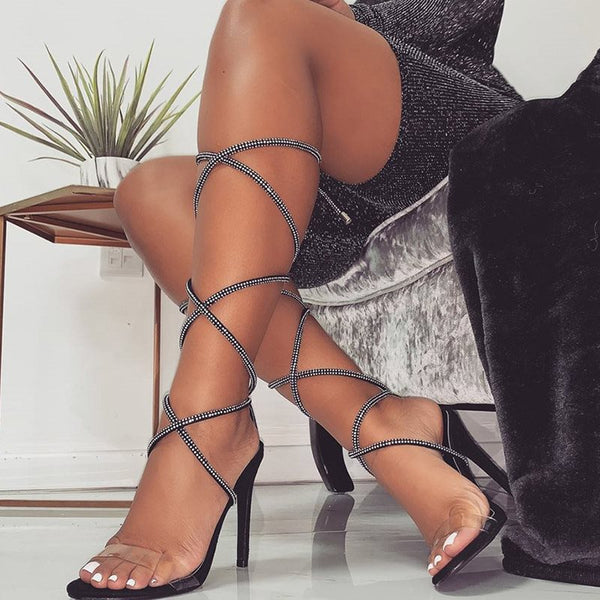 Open Toe Lace-Up Ankle Strap Stiletto Heel Casual Sandals