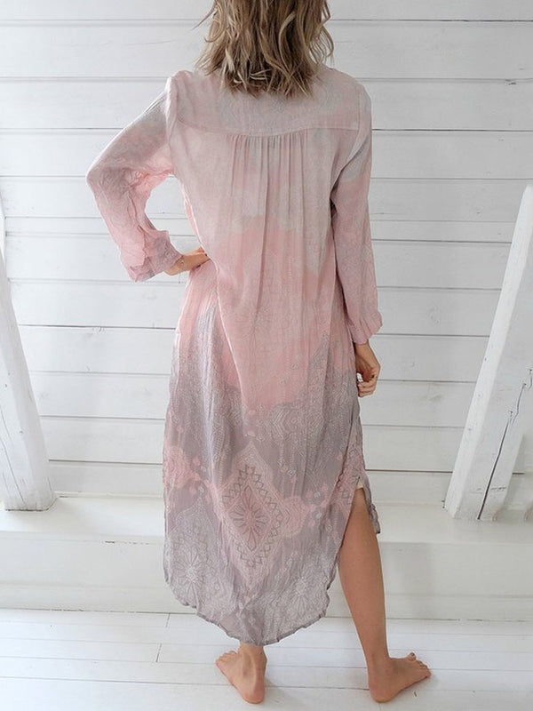 V-Neck Ankle-Length Long Sleeve A-Line Pullover Dress