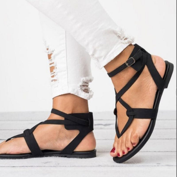 Thong Strappy Buckle Block Heel Plain Low-Cut Upper Sandals