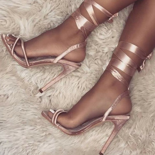 Slingback Strap Open Toe Stiletto Heel Lace-Up Low-Cut Upper Casual Sandals