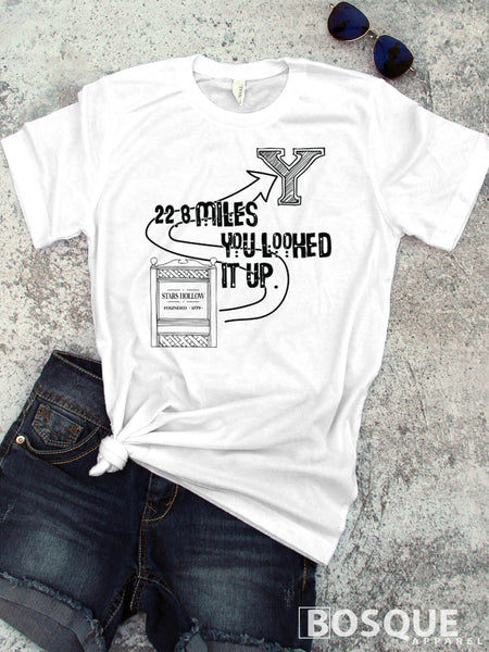 22.8 Miles Stars Hallow to Yale -  Gilmore Girls inspired design - Ink Printed T-Shirt