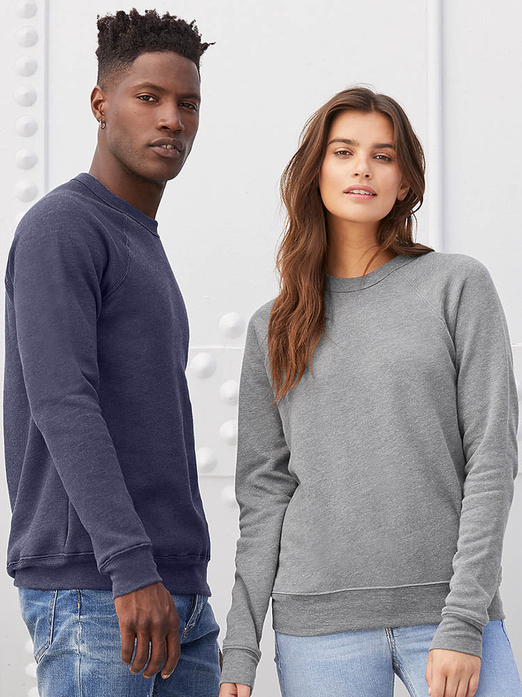 Bella + Canvas Unisex 3901 and Petite 7501 Sponge Fleece Raglan Sweatshirt