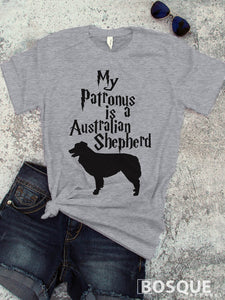 My Patronus is a Australian Shepherd T-Shirt design - Ink Printed T-Shirt