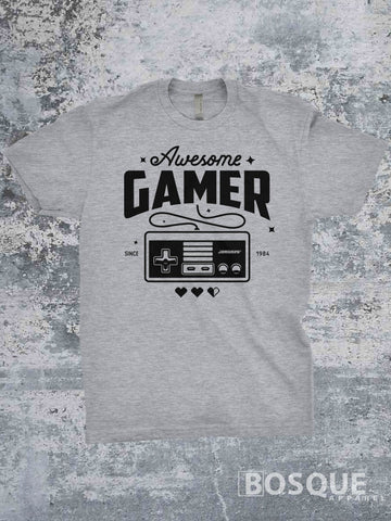 Awesome Gamer Classic Retro Video Games Twitch JGroove TiffanyTv 80s Kids with Kids T-Shirt - Ink Printed shirt