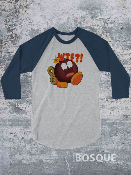 WTF Bomb JGroove Twitch Emote 80s Kids with Kids Ink Printed 3/4 Sleeve Baseball Raglan Shirt