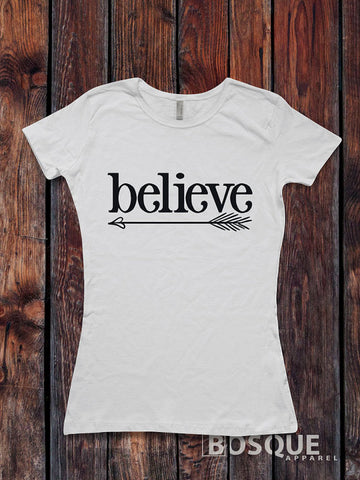 Believe - Arrow Feather Boho Christmas Holiday shirt - Ink Printed T-Shirt