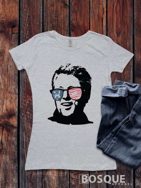 Presidents' Day Bill Clinton USA Flag sunglasses Pop Culture T-Shirt Patriotic Style Shirt lettering - Ink Printed
