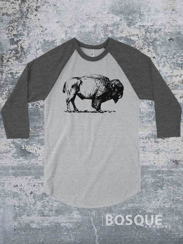 Bison raglan - BoHo Buffalo Distressed 3/4 Sleeve Baseball Raglan Tee Top Shirt - Ink Printed