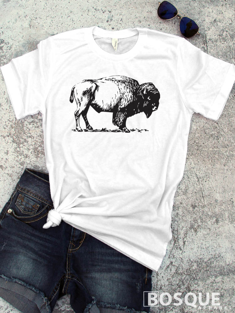 Bison t-shirt - BoHo Buffalo Distressed - Ink Printed T-Shirt