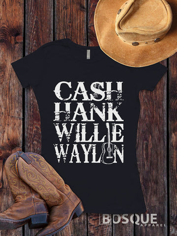 Cash, Hank, Willie, Waylon Style Shirt Legends of Country Music T-Shirt Southern Style - Ink Printed