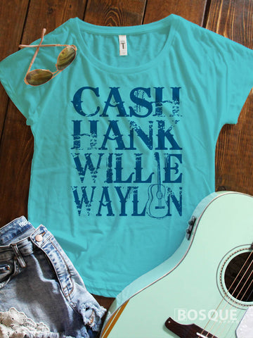 Cash, Hank, Willie, Waylon Style Shirt Legends of Country Music Southern Style Ink Printed Dolman Tee Shirt