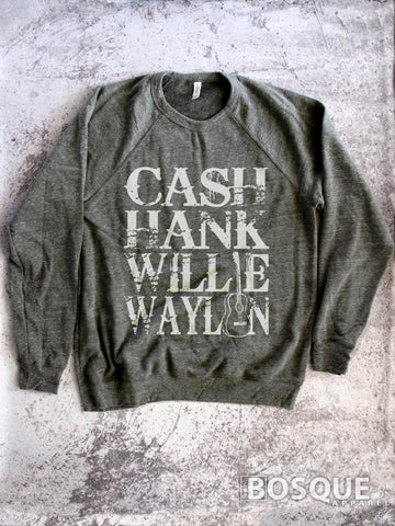 Cash, Hank, Willie, Waylon Style Shirt Legends of Country Music Sweater Southern Style - Ink Printed Sweatshirt