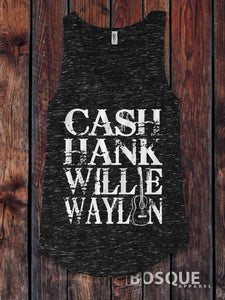 Cash, Hank, Willie, Waylon Style Shirt Legends of Country Music Tank Top Southern Style - Ink Printed Tank Top