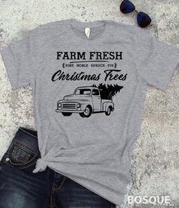 Christmas Truck - Country Farm Fresh Christmas Trees - Ink Printed T-Shirt