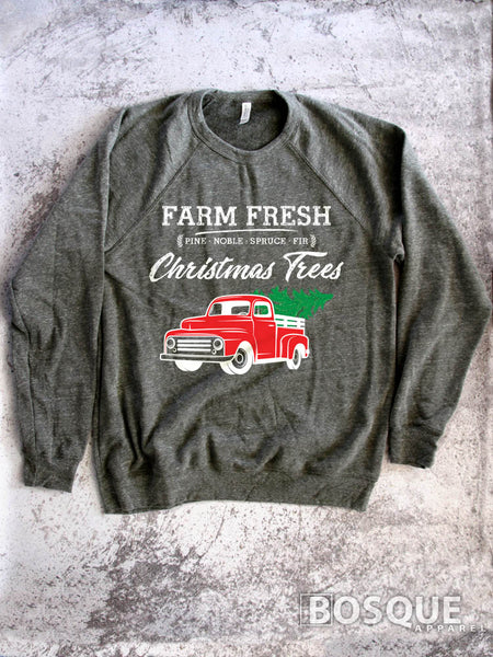 In Color Red Truck - Country Farm Fresh Christmas Trees - Ink Printed Sweatshirt