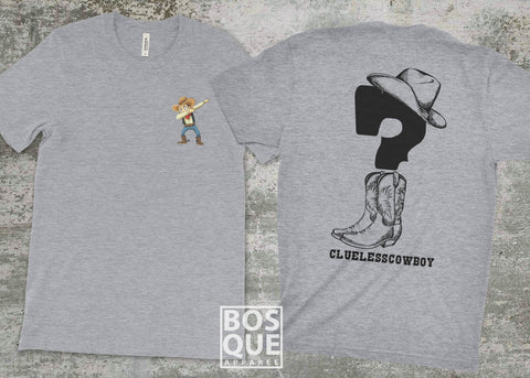 Clueless Cowboy 2 sided tee Dabbing Cowboy Logo Twitch Streamer CluelessCowboy T-Shirt - Ink Printed shirt