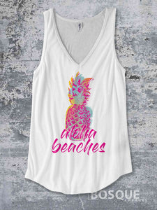 Aloha Beaches - in color - Pineapple Summer Top beach tank Shirt design Shirt - Ink Printed Tank Top
