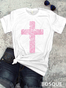 Distressed color cross faith inspired tee - Easter shirt - Ink Printed T-Shirt