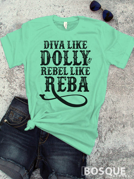 Diva like Dolly Rebel like Reba - Icons of Country Music - Ink Printed T-Shirt