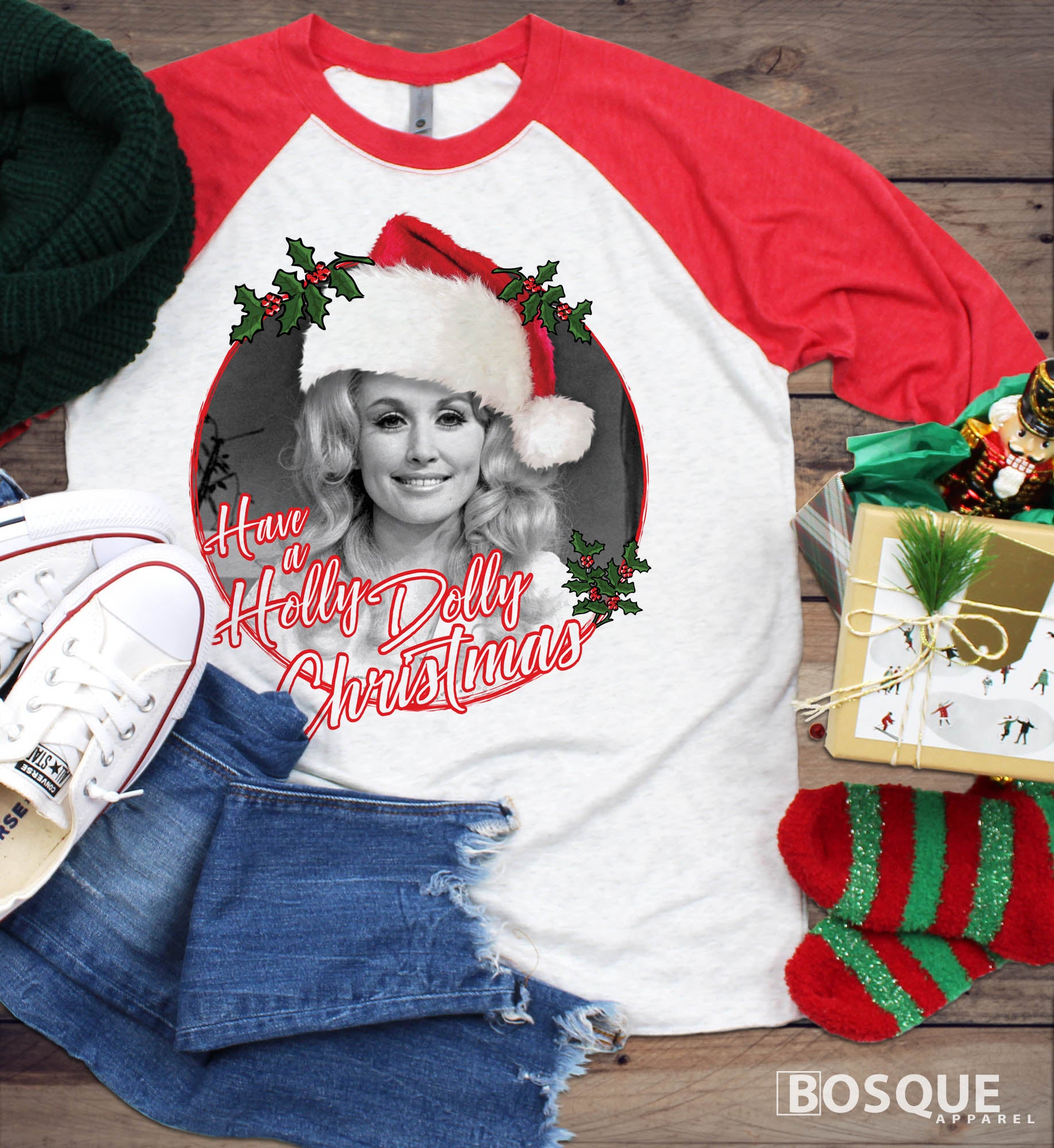 Have a Holly Dolly Christmas -  Country Music Inspired Southern Style Ink Printed 3/4 Sleeve Baseball Raglan Tee