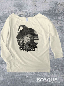 Happy Dollyween -  Country Music Inspired Halloween Southern Style 3/4 Sleeve French Terry Raw Edge Raglan Tee Top Shirt - Ink Printed