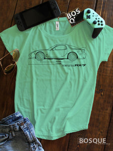 Blueprint FD 13B Twin Turbo RX7 RX 7 Ink Printed Dolman Tee Shirt