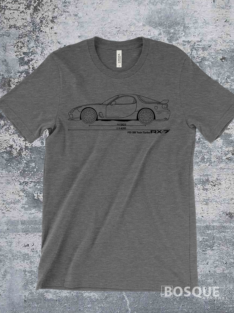 Blueprint FD 13B Twin Turbo RX7 RX 7 Ink Printed Tee Shirt