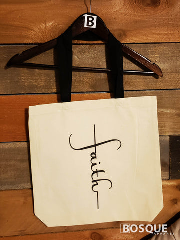 Faith cross words design 100% cotton canvas tote - Ink Printed tote bag