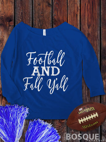 Football and Fall y'all on a 3/4 Sleeve French Terry Raw Edge Raglan Tee Top Shirt - Ink Printed