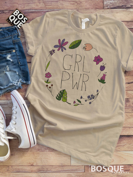 Girl Power BoHo Floral Circle Tee - Ink Printed T-Shirt