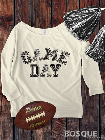 Game Day on a 3/4 Sleeve French Terry Raw Edge Raglan Tee Top Shirt - Ink Printed
