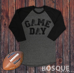 Game Day 3/4 Sleeve Baseball Raglan Tee Top Shirt - Ink Printed