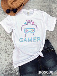 Gamer Girl Neon Lights design - Controller Army Sexy Gamer Twitch TiffanyTv 80s Kids with Kids T-Shirt Tiffany TV - Ink Printed shirt