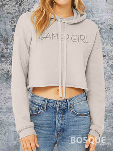 Gamer Girl Cropped Fleece Hoodie Twitch TiffanyTv 80s Kids with Kids Crop Top Tiffany TV - Ink Printed Hoody