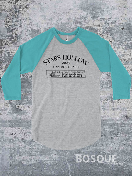 Gilmore Girls inspired Stars Hollow Knitathon 2006 design on a 3/4 Sleeve Baseball Raglan Tee Top Shirt - Ink Printed
