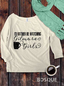 I'd rather be watching Gilmore Girls design on a 3/4 Sleeve French Terry Raw Edge Raglan Tee Top Shirt - Ink Printed
