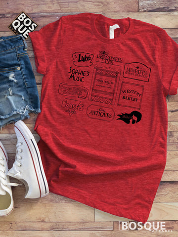 Stars Hollow shops and locations - Gilmore Girls inspired design - Ink Printed T-Shirt