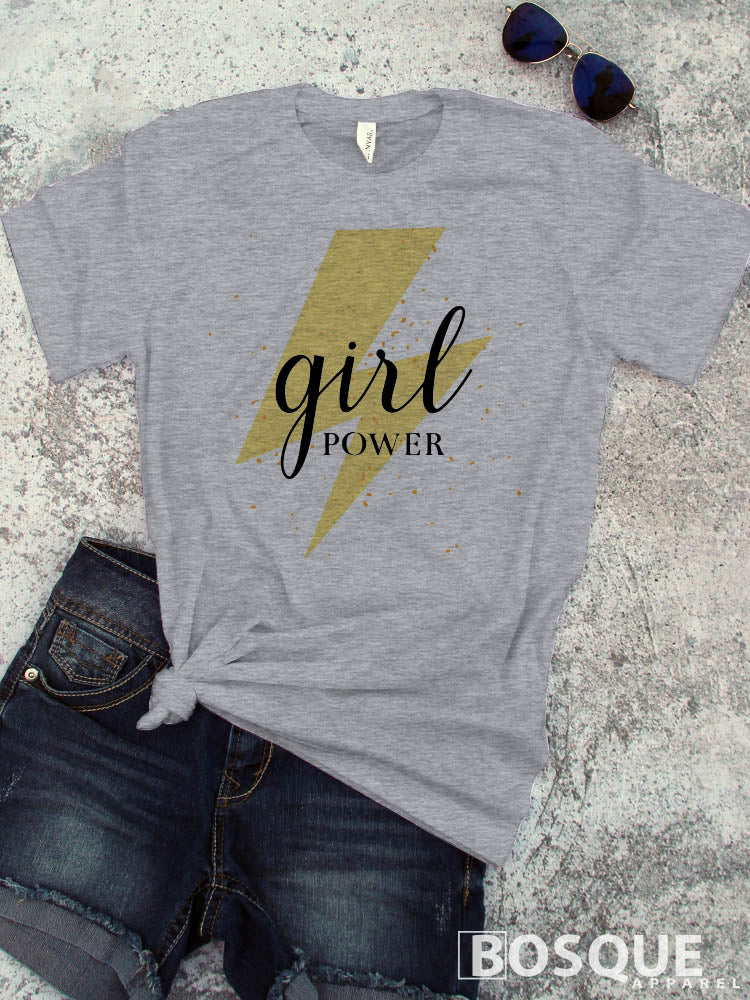 Girl Power Lightning tee - Ink Printed T-Shirt