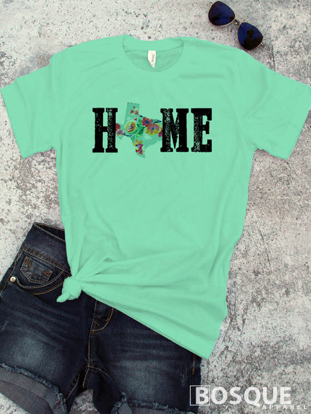 Texas Home BOHO Distressed Country Southern Style Tee - Ink Printed T-Shirt