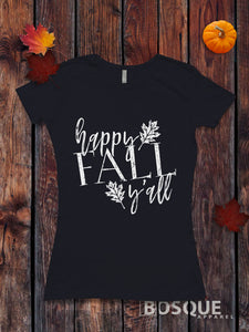 Happy Fall Y'all T-Shirt Top Tee Shirt Script Leaves design with Distressed Handwritten font Style - Ink Printed