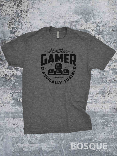 Hardcore Gamer Classic Retro Video Games Twitch JGroove TiffanyTv 80s Kids with Kids T-Shirt - Ink Printed shirt