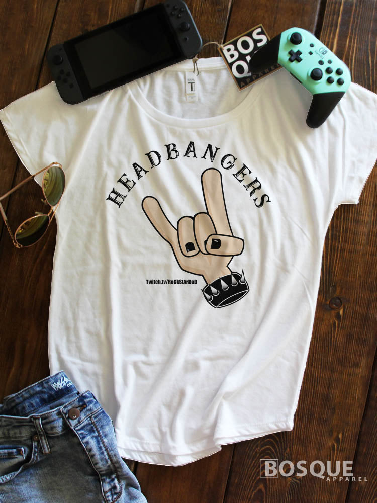 Headbangers RoCkStArDaD Logo Twitch Streamer Rock Star Dad Ink Printed Dolman Tee Shirt