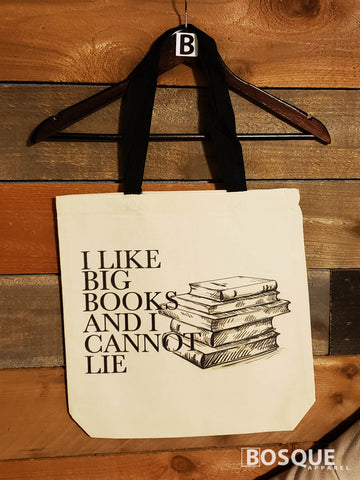I Like Big Books and I Cannot Lie 100% cotton canvas tote - Ink Printed tote bag