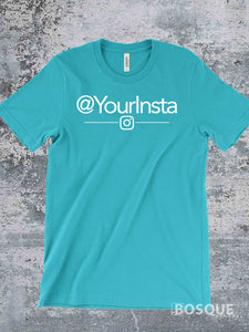 Personalized @ Instagram shirt Custom Print @YourInsta Tee - Ink Printed T-Shirt